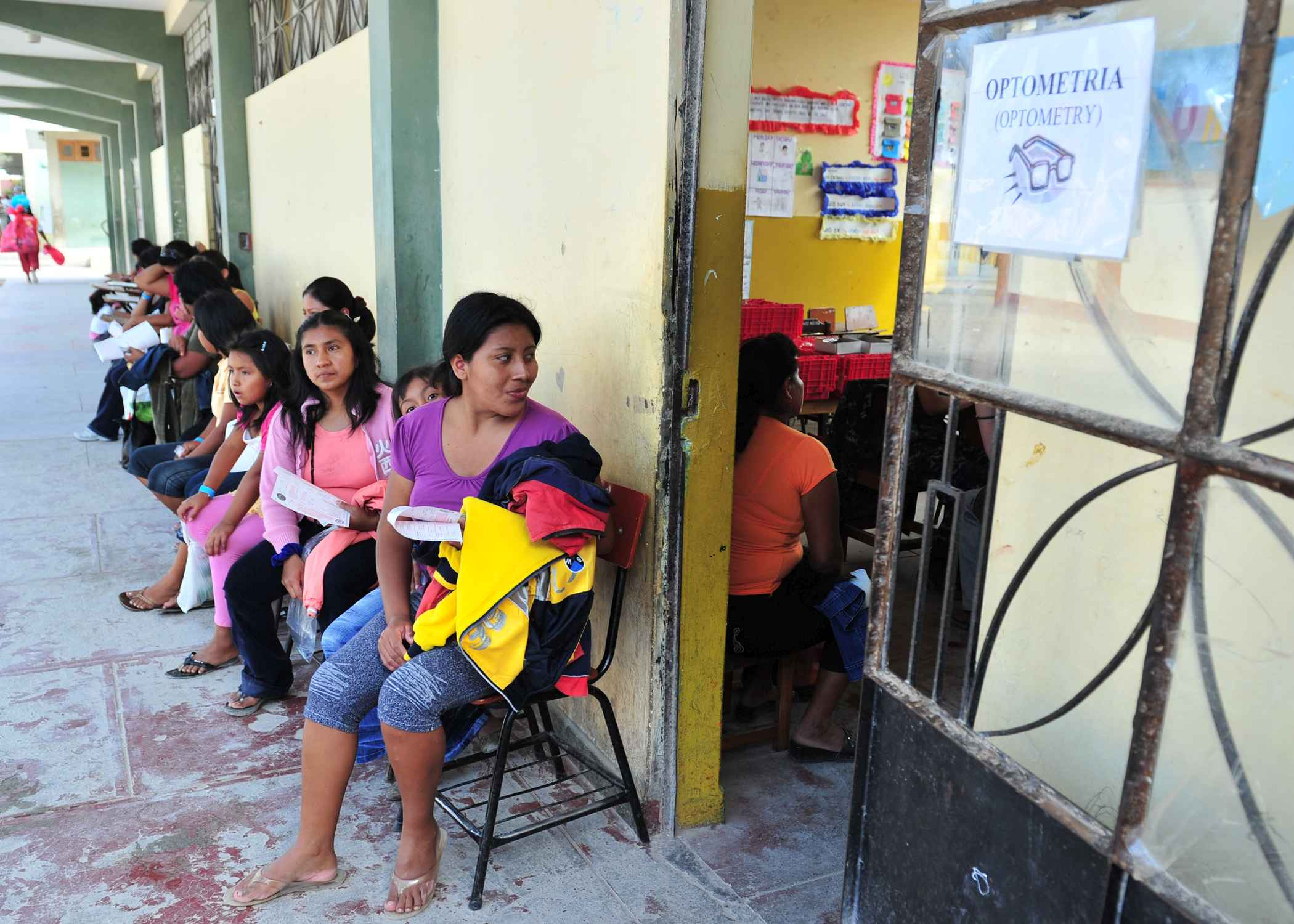 US Navy 110503 N QD416 125 Peruvian patients wait for eye care at a Continuing Promise 2011 medical clinic